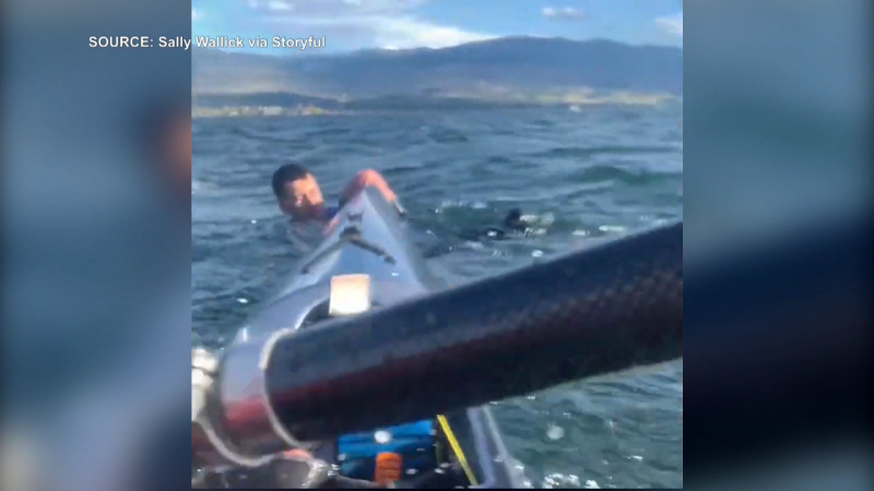 Kayak rescue in Lake Okanagan