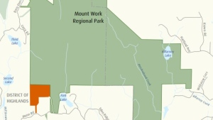 The CRD announced the acquisition of the new land (highlighted in orange) for Mount Work Regional Park on Monday, May 17, 2021.