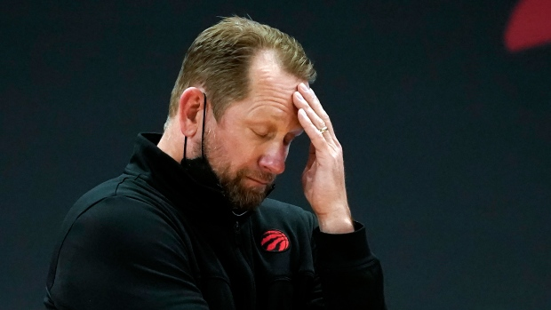 Toronto Raptors head coach Nick Nurse reacts to a foul call during the first half of an NBA basketball game against the Indiana Pacers Sunday, May 16, 2021, in Tampa, Fla. (AP Photo/Chris O'Meara)