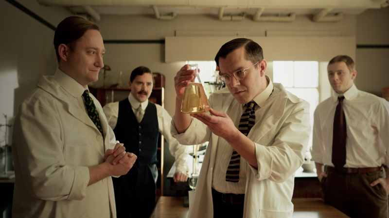 Actors portraying scientists act out the discovery of insulin in an undated handout still frame from a new Heritage Minute. (THE CANADIAN PRESS / HO-Historica Canada)