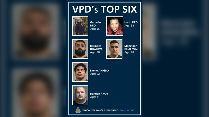 "The Vancouver Police Department has identified six alleged gangsters who are said to pose ""a significant risk"" to public safety. (Handout)"