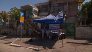 Jewish settlers have moved into a home they claim is theirs as seen on a residential street in Sheikh Jarrah on May 17, 2021, a small neighbourhood in east Jerusalem that has become a flashpoint of tension between Israelis and Palestinians.