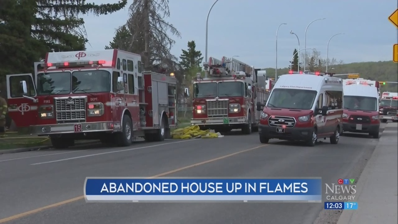 Abandoned home goes up in flames