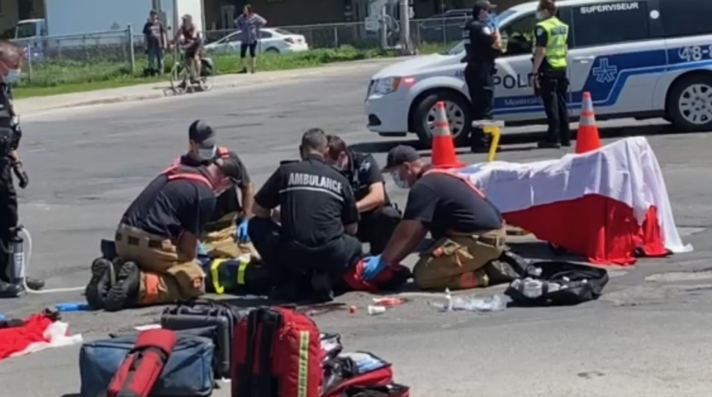woman injured in collision with truck
