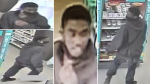 Ottawa police are asking for help identifying this man after a clerk at a local business was stabbed Saturday, May 15, 2021. (Images provided by the Ottawa Police Service)