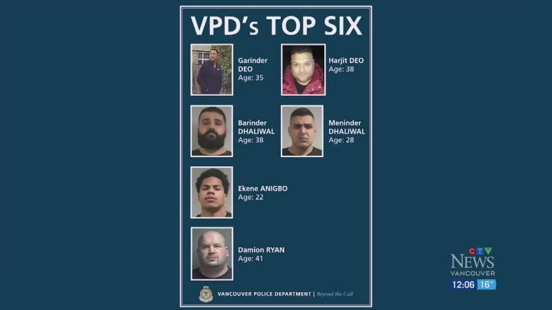 6 alleged gangsters ID'd by police in Vancouver