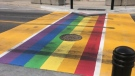 OPP are investigating the vandalization of a Pride crosswalk in Paris, Ont. (Source: Brant County OPP) (May 17, 2021)