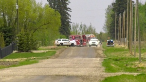 Emergency services respond to the single vehicle rollover near St. Albert (CTV News Edmonton/Sean Amato)