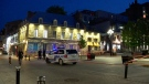 Police tape surrounds Place Jacques Cartier in Old Montreal following a stabbing of a young man around 8:25 p.m. on Monday, May 17, 2021. (Cosmo Santamaria/CTV)