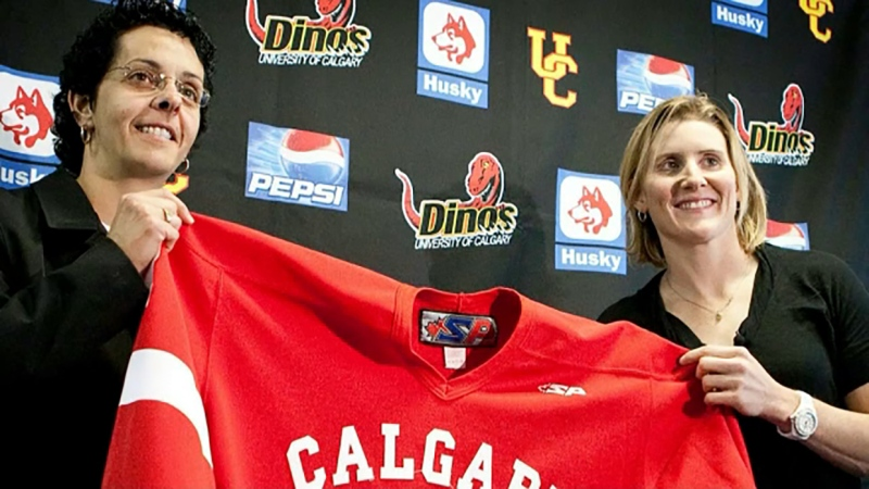 Former Dino coach Danielle Goyette was hired by the Maple Leafs Monday. She'll work in her player development for Hayley Wickenheiser.