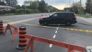 Police closed a section of Hunt Club Road Tuesday morning after two men were shot. (Jim O'Grady/CTV News Ottawa)