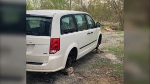 The tires and rims were recently stolen off a Capreol business' delivery van. (Kyle Buisson/North of 17)