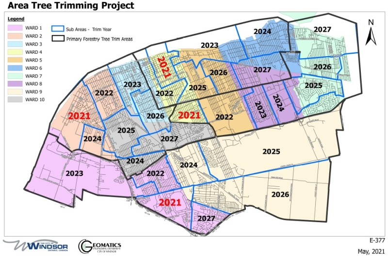 Tree trimming targets Windsor Ward's 1, 2 and 4 (Map Courtesy: City of Windsor)