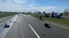 A crash on the eastbound Highway 401 near Dutton, Ont. on Monday, May 17, 2021. (Source: OPP)