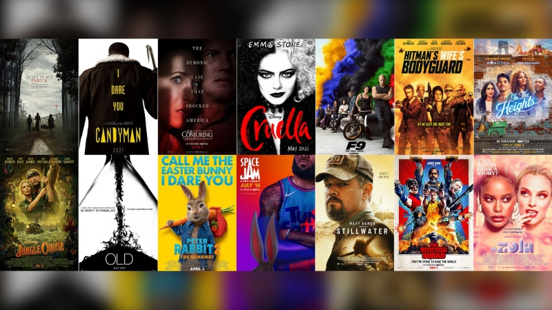 This combination photo shows poster art for upcoming summer films, top row from left, 'A Quiet Place Part II,' 'Candyman,' The Conjuring: The Devil Made Me Do It,' 'Cruella,' 'F9,' 'The Hitman's Wife's Bodyguard,' 'In the Heights,' bottom row from left, 'Jungle Cruise,' 'Old,' 'Peter Rabbit 2: The Runaway,' 'Space Jam: A New Legacy,' 'Stillwater,' 'The Suicide Squad,' and 'Zola.' (Top Row from left, Paramount Pictures / Universal Pictures / Warner Bros. Pictures / Disney  / Universal Pictures / Lionsgate / Warner Bros., bottom row from left, Disney, Universal / Sony Pictures / Warner Bros. / Focus Features / Warner Bros. / A24 via AP)