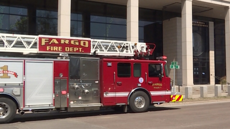 A firetruck is parked outside a courthouse in Fargo, North Dakota on May 17, 2021.