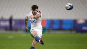 France's Romain Ntamack kicks a conversion during the Six Nations rugby union international match between France and Scotland at the Stade de France in Saint-Denis, near Paris, on March 26, 2021. (Christophe Ena / AP)