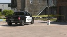 Sault police have area on James Street cordoned off as they investigate a homicide after a woman's body was found. May 18/21 (Mike McDonald/CTV Northern Ontario)
