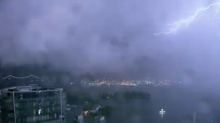 Lightning captured from the CTV Vancouver tower camera on May 17, 2021.