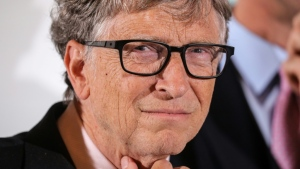 Bill Gates is seen at a conference of Global Fund to Fight AIDS, Tuberculosis and Malaria, at Lyon's city hall, central eastern France in 2019. (AFP)