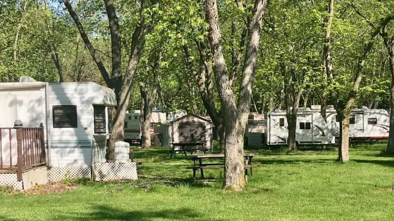 Seasonal trailers at Fanshawe Conservation Area in London are seen on Tuesday, May 18, 2021. (Sean Irvine CTV News)