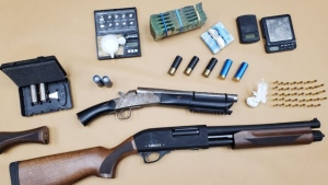 Items seized during a London police raid at a Wonderland Road S. residence on May 14, 2021. (Supplied)