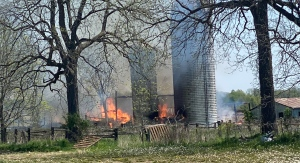 Crews are dealing with a barn fire in south London, Ont. on Tuesday, May 18, 2021. (Source: London Fire Department / Twitter)