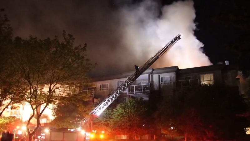 Surrey firefighters are collecting donations after a massive fire at apartment complex broke out over the weekend.
