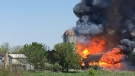 Barn fire on Colonel Talbot Road in London, Ont. on May 18, 2021. (Irma Huyben)