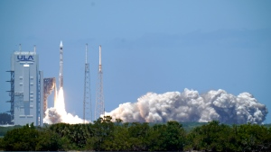 A United Launch Alliance Atlas V rocket carrying U.S. Space Force's fifth Space Based Infrared System Geosynchronous satellite (SBIRS GEO 5) for missile early-warning detection, lifts off from Space Launch Complex 41 at the Cape Canaveral Space Force Station, Tuesday, May 18, 2021, in Cape Canaveral, Fla. (AP Photo/John Raoux)