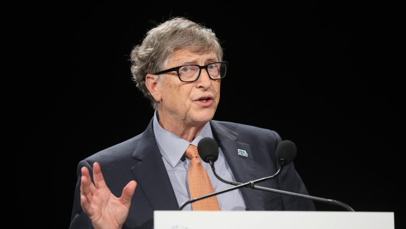 In this Oct. 10, 2019, file photo, philanthropist and Co-Chairman of the Bill & Melinda Gates Foundation Bill Gates gestures as he speaks to the audience during the Global Fund to Fight AIDS event at the Lyon's congress hall, central France. (Ludovic Marin/Pool Photo via AP, File)