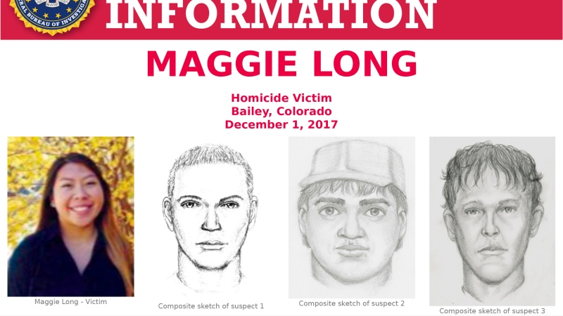 "This poster released by the Federal Bureau of Investigation shows Colorado homicide victim Maggie Long, left, and composite sketches of at least three men they were believed involved in her 2017 death. On Monday, May 17, 2021, the FBI said in a statement to KCNC-TV that it was probing the death of Long, an Asian-American teen, a ""hate crime matter."" Her death was ruled a homicide. (FBI via AP)"
