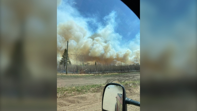 The fire, which is at the Canadian Forces Base (CFB) Shilo, is estimated to be about 3,600 hectares in size. (Source: Facebook/Oakland/Wawanesa Fire Department)