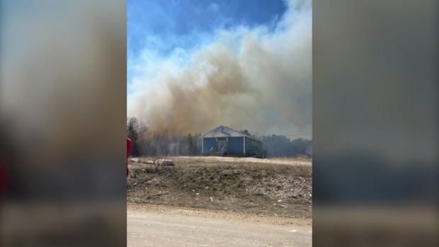 A fire broke out in Beardy's Point on Tuesday afternoon, prompting the evacuation of between 40 and 50 homes in the area. (Image source: Facebook - Tyra Waka)
