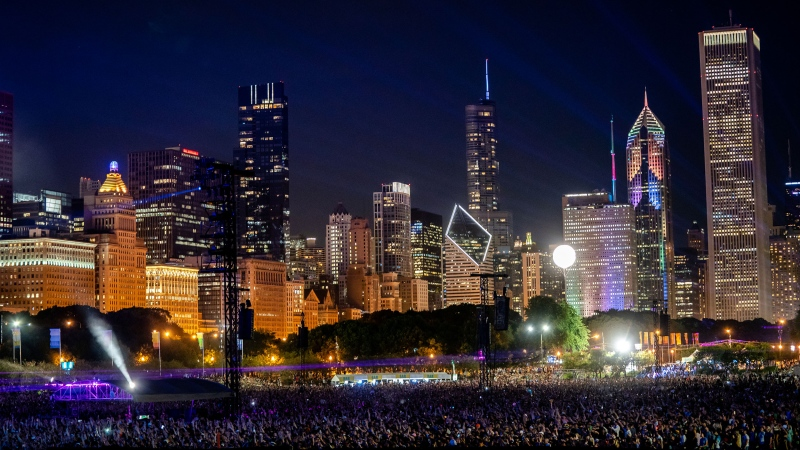 Crowds attend the Lollapalooza music festival at Grant Park on August 2, 2019, in Chicago. Organizers announced May 18 that Chicago's largest music festival will return to Grant Park at full capacity from July 29 to August 1. (Josh Brasted/FilmMagic/Getty Images/CNN)