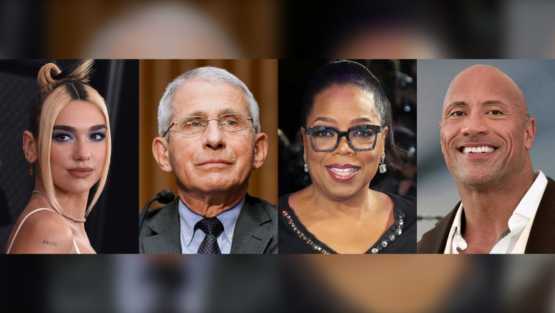 "This combination photo shows singer Dua Lipa, from left, Dr. Anthony Fauci, Oprah Winfrey, and Dwayne ""The Rock"" Johnson, who are among the winners Tuesday at the Webby Awards, which recognize the best internet content and creators. The Webby Person of the Year went to Fauci for using digital and social media to reach the masses with credible and factual COVID-19 information. (AP Photo)"