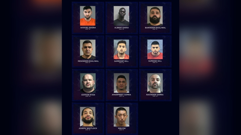 On May 18, 2021, police released a list of names and photos of 11 people in B.C. who they believe are likely to be targeted with gang violence in the near future, and are warning the public to stay away from them. (CFSEU/Handout)