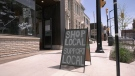 A sign in front of Ottawa Valley Coffee in Renfrew, Ont. (Dylan Dyson / CTV News Ottawa)z