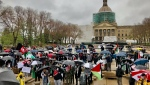 People rallied at the Legislature in supports of Palestinians. Tuesday May 18, 2021 (CTV News Edmonton)