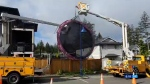 Overnight gusts send Langford trampoline flying