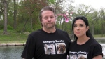Andreina (right) and Keith (left) Holliday say their two dogs were killed in a dog attack during a stay at Pooches Playhouse in Winnipeg on May 7, 2021. (Source: Danton Unger/ CTV News Winnipeg)