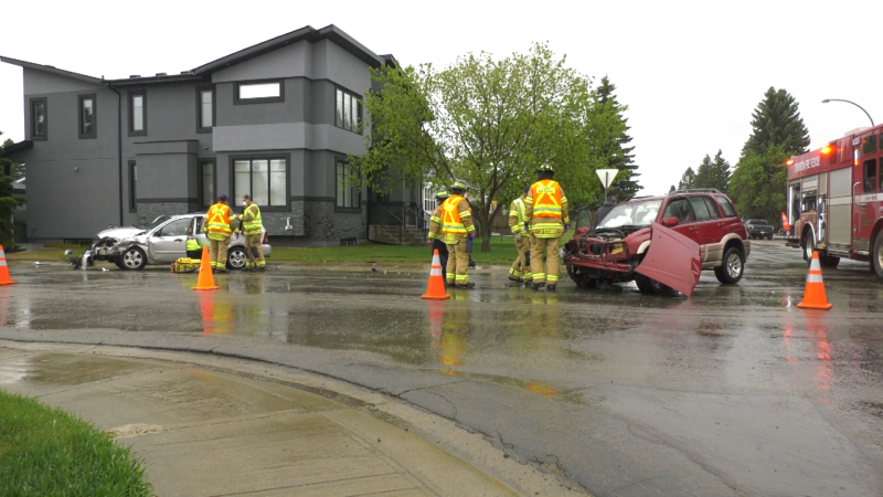 A crash in west Edmonton sent one woman to hospital. Tuesday May 18, 2021 (CTV News Edmonton)