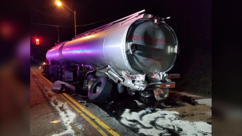 Tanker involved in crash on Highway 69