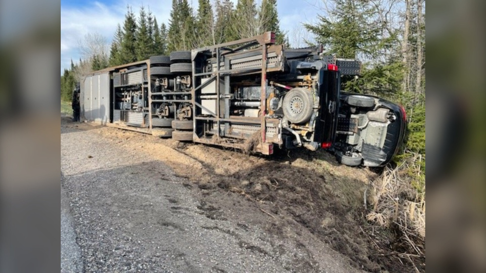 Transport rollover on Highway 144 in Timmins