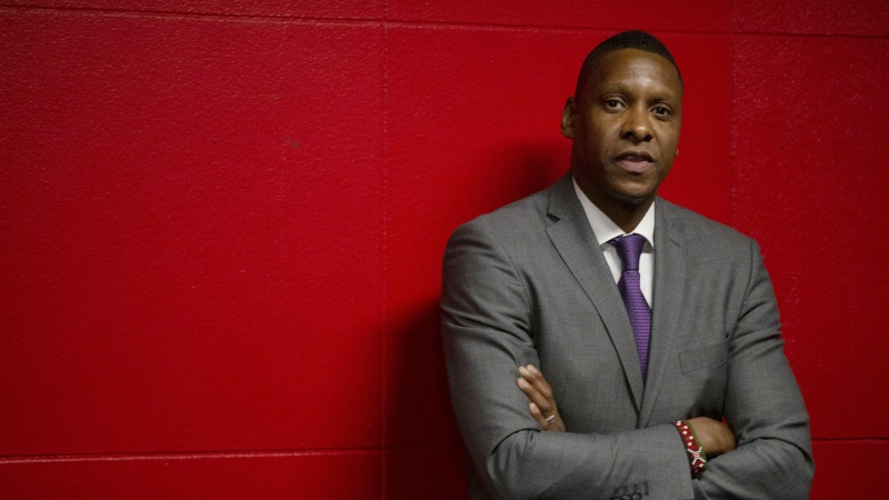 Toronto Raptors President Masai Ujiri is seen in the tunnel area ahead of first half NBA basketball action against New Orleans Pelicans in Toronto on Tuesday October 22, 2019. THE CANADIAN PRESS/Chris Young