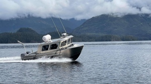 The Ahousaht First Nation marine response vessel, funded through the Canadian Coast Guard's Indigenous Community Boat Volunteer Pilot Program, is shown: (Canadian Coast Guard / Facebook)