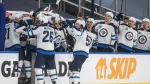 Winnipeg Jets celebrate a goal against the Edmonton Oilers during third period NHL playoff action in Edmonton on Wednesday, May 19, 2021.THE CANADIAN PRESS/Jason Franson