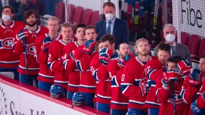 Montreal Canadiens stand for the national anthem before their final game of the season against the Edmonton Oilers in NHL hockey action Wednesday, May 12, 2021 in Montreal. THE CANADIAN PRESS/Ryan Remiorz