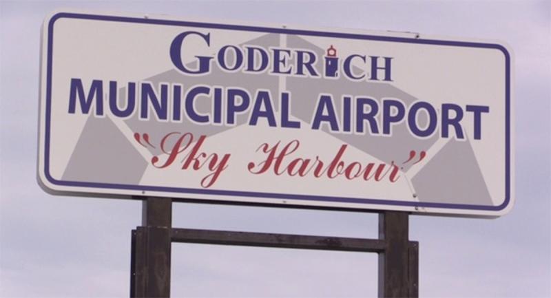 A sign for the Goderich Municipal Airport in Goderich, Ont. (Scott Miller / CTV News)