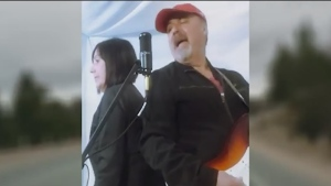 Vince and Boschi and France Hanka of Sault Ste. Marie perform a song about missing loved ones and also local businesses.